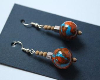 Handmade Earrings, Mixed Colour Earrings, Casual Earrings, Gift for Her, Dry Clay Earrings, Blue & Orange Earrings, Unique Earrings