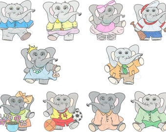 Happy Elephants Digital Clip Art Hand Drawn Instant Download Digital Artwork Animal Children Characters sports ballet baseball princess art