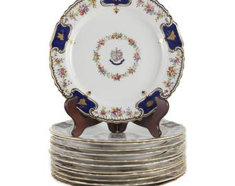 Qty 12 Spode Copeland China Dinner Plates #200, c.1890, Courage et Fidelitas