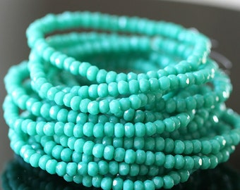Czech Glass Beads - 3x2mm Rondelle Beads - Jewelry Making Supplies - Turquoise  (50 pieces) 2x3mm