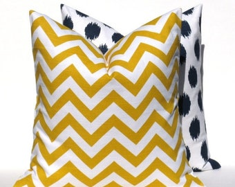 15% Off Sale Yellow Pillows .Decorative Pillows Chevron Pillow Navy Pillow TWO 20x20 Ikat Pillow  Chevron Pillow. Yellow .Cushion