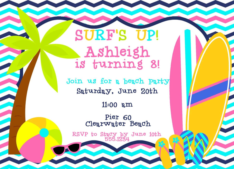 Nice Beach Party Invite Ideas Invitation Card