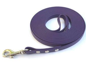 Training Lead 12mm wide 15 foot Long in Biothane® in PURPLE
