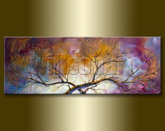 Birch Landscape Painting Original Oil on Canvas Textured Palette Knife Contemporary Modern Tree Art Seasons 15X40 by Willson Lau
