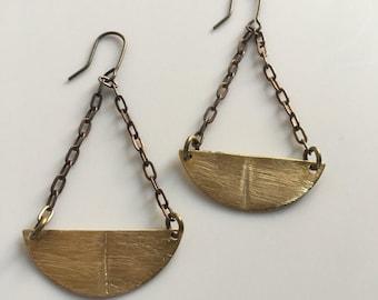 Brass semi-circle chandelier earrings
