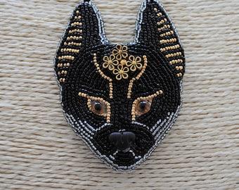 Bastet or Bast Egyptian Cat Goddess Artisan Hand Beaded One of A Kind Designer Necklace