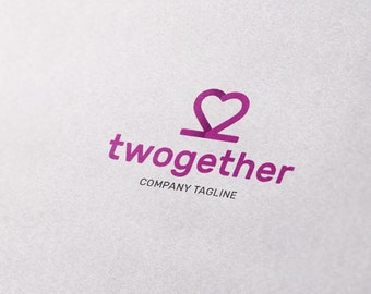 Premade Logo Design - Together, Love, Heart, Pink