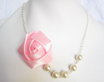 Silk Ribbon Fabric Rosette Flower Necklace,Color Pink Necklace,Pearl Necklace,Party Bridesmaid Necklace,Love Gift