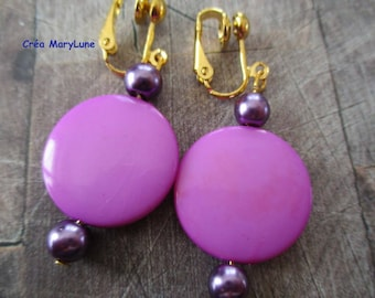 Clip earrings for non-pierced ears purple