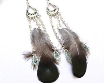 Blue Green feather earrings