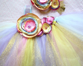 Gorgeous Beautiful Yellow, Pink, Light Blue, and Gold Satin Shabby Chic Flower Tutu Dress for Baby Girl 6-18 Months old First Birthday