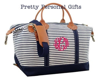Monogram Weekender Bag, Weekender Bag, Overnight Bag, Travel Bag, Monogram Travel Bag,  Monogram Duffle, Striped Weekender