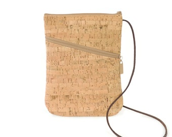 Cork Crossbody Bag, Zippered Cork Purse, Handbag Crossbody, Small Zip Top Purse, Natural Vegan Bag, Brown Travel Purse