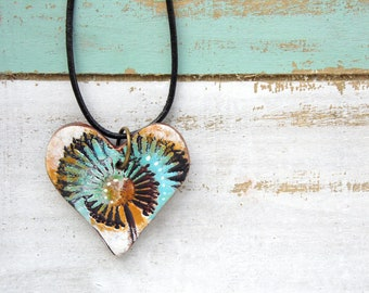 Polymer Clay Heart Pendant Jewelry featuring an Wildflower Grunge Boho Design in Aqua, Orange, Black and White