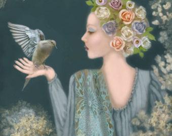 Woman, Bird, Roses, Love of Creatures, Beautiful Dove, Trust, Archival Print, Home Decor