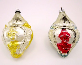2 Vintage Glass Victorian Woman Urn Christmas Holiday Ornaments