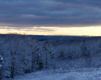 Quabbin Valley, Western Massachusetts • Winter sunrise, snow and ice • Landscape photograph printed on canvas or engineer paper
