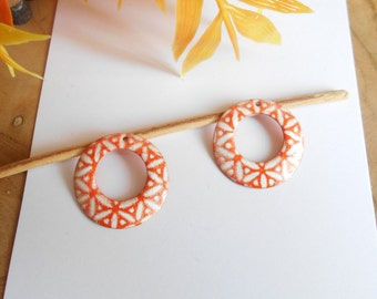 x 2 sequins orange and white 22 mm 2 sided
