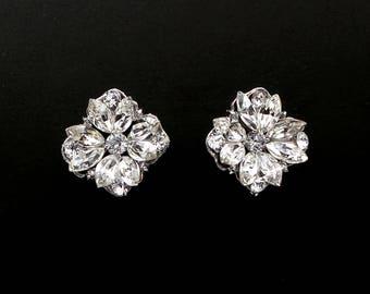 christmas prom bridal wedding bridesmaid gift Swarovski clear fancy marquise flower crystal rhinestone rhodium silver stud post earrings