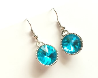 Light Blue Rivoli Earrings, Blue Water, Aquamarine, Drop, Dangle, Gift for Girlfriend
