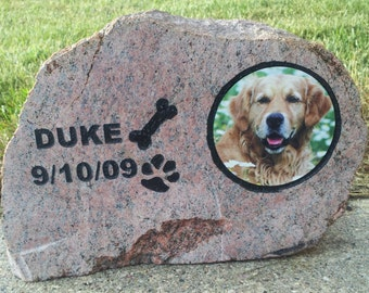 pet memorial, photo rock, memorial, engraved rock