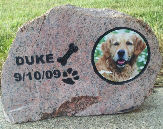 pet memorial, photo rock, memorial, engraved rock