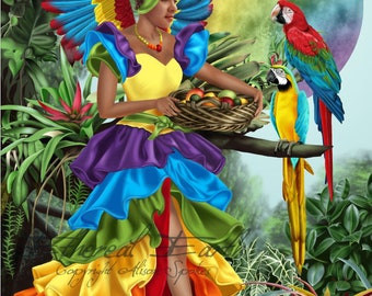 Rainbow Fairy Tutti-Frutti Wings Tropical Cuba Cha-Cha Brazil Carnival Jungle - Fine Art Fantasy Print