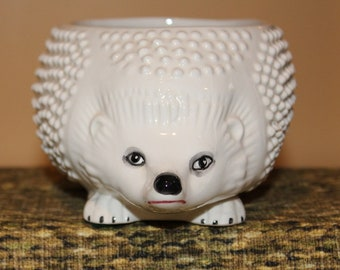 Vintage white ceramic hedgehog container