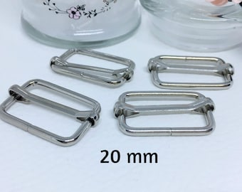 Sliding buckle, buckle strap, from silver metal, set of 10 - many widths available