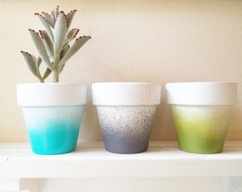 Colorful planters, ombre pots, aqua, teal, olive, grey, set of planters, succulent pots