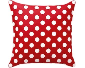 Red Polka Dot STUFFED Pillow, Red Toss Pillow, Polka Dot Accent Pillow, Red Dotted Pillow, Red White Pillow, Red Polka Dot Pillow Free Ship
