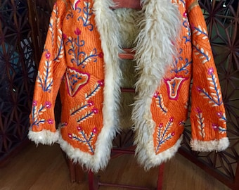SALE  Vintage Tibetan Hand Embroidered Shearling Lined Coat Boho Hippy WAS 795