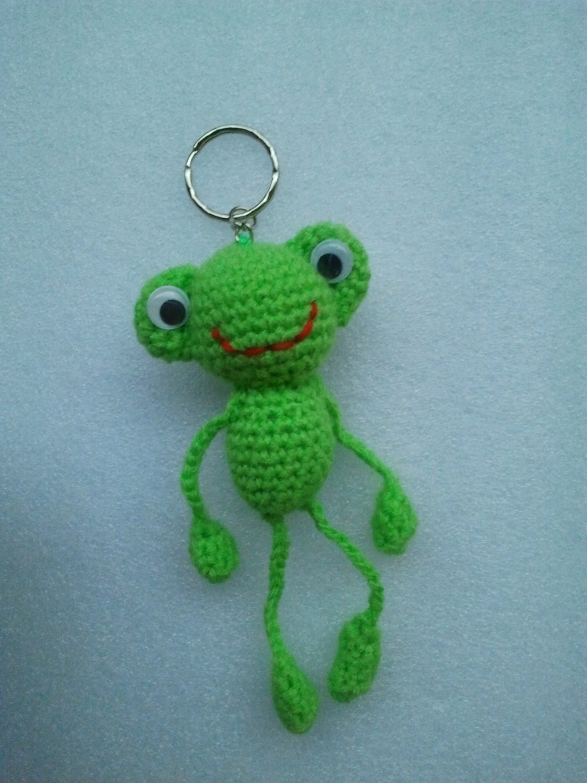 Crochet porte cl frog amigurumi frog peluche grenouille - Porte cle crochet ...