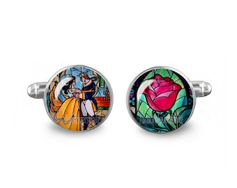 Beauty and the Beast Cuff Links 16mm Cufflinks Novelty Gift for Men Groomsmen Fandom Jewelry