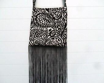 Gothic Bohemian Bag Purse Black and White Cut Velvet with Fringe