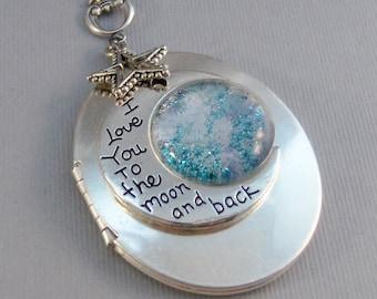 Love You Moon,Locket,Silver Locket,Moon,Moon Locket,I love you to the moon,Moon Necklace,Star Necklace,Star Locket,Love valleygirldesigns.