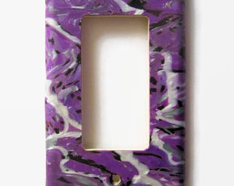Light Switch Cover, Single Switch Plate, Rocker Switchplate, Purple with Pearl and Black