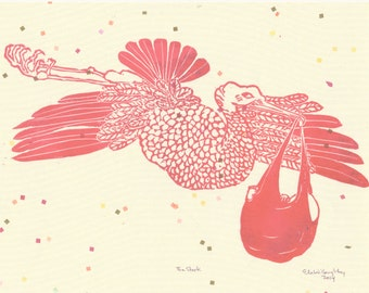 The Stork Deliverying Baby Linocut in Pink, Nursery Art, Baby Shower Gift, Lino Block Print Stork with Baby Illustration
