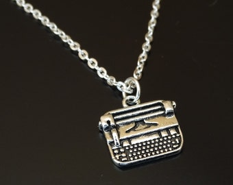 Typewriter Necklace, Typewriter Jewelry, Typewriter Charm, Typewriter Pendant, Author Necklace, Author Gifts, Writer's Necklace,Teacher Gift