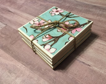Floral tile coasters (set of 4)