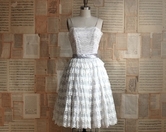 vintage 50s tiered lace party dress  s