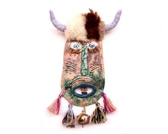 Bulgarian Kuker Mask , Totem wall mask , Original ceramic mask , Folk art mask , Mask sculpture, Mixed media mask