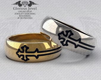 Glorious Wedding cross band with enamel / OOAK / 925 Sterling Silver / 14K Gold / Custom made / FREE SHIPPING / Made to Order