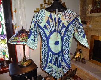 Woman's Original Design Tribal Batik Tunic size Medium