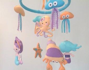 Mermaid Baby Mobile, Under the Sea Crib Mobile, Octopus Nursery Mobile, Starfish Crib Mobile, Mermaid Nursery Decor, Baby Shower Gift