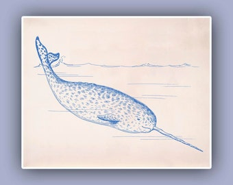 Unicorn narwhal print Whale10x8 Blue print, Marine Wall Decor, Nautical art,  Seashore art  Print, Coastal Living beach cottage decor