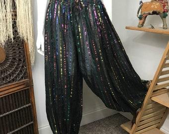 Vtg 70s rainbow stripe metallic lurex indian gauze dress harem balloon pants