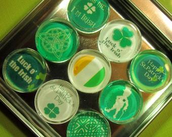 ST. PATRICK'S DAY Refrigerator Magnets, Set of 9 Glass Tile Refrigerator Magnets with Storage Tin