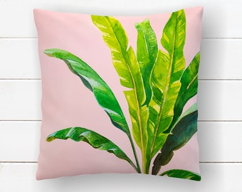 Banana Leaf Pillow, Swaying palm Pillow, Tropical Decor, Beach House, Jungle Decor, Beach Nursery, Hawaiin Throw Pillow Covers Lumbar Pillow