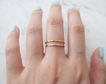 Thin gold ring, set of 2//14k gold fill ring, gold stacking rings, hammered gold ring, dainty gold ring, delicate gold ring, gold stack